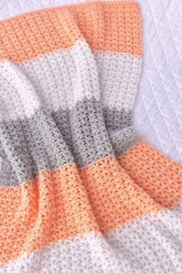 Photo of Peach and Grey Crochet Baby Girl Blanket