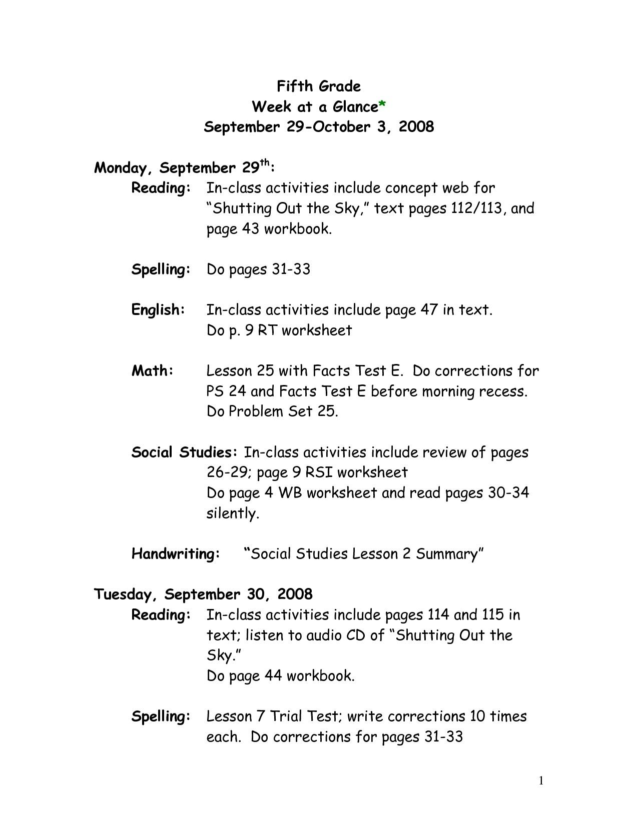 9 Official Parts Of Speech Worksheets 5th Grade di 2020