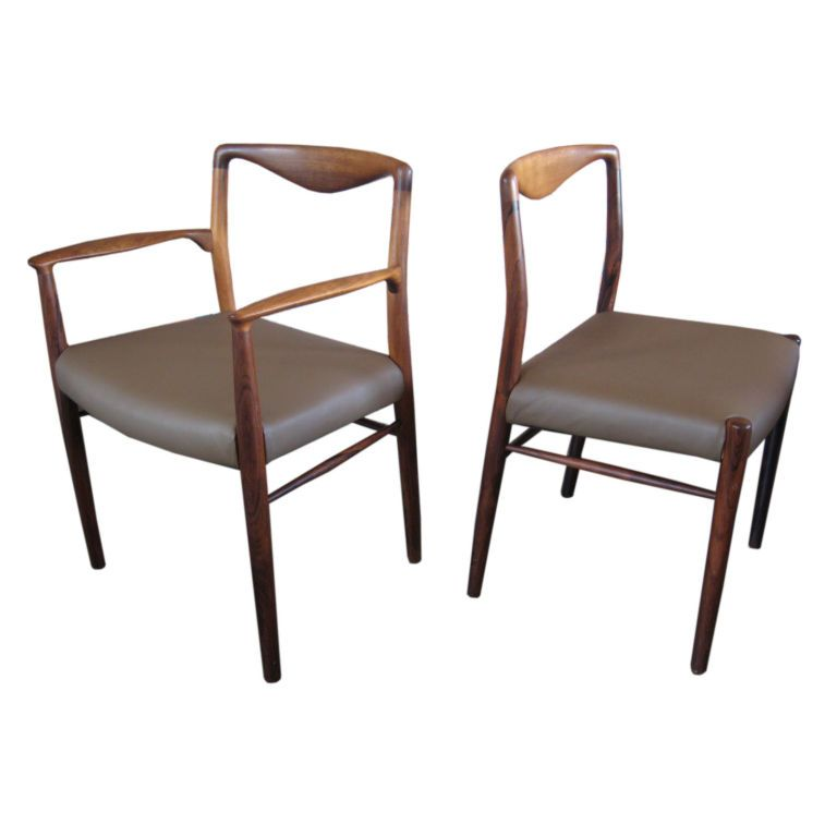 Lovely Set Of Eight Rosewood Dining Chairs By Kai Lyngfeldt Larsen