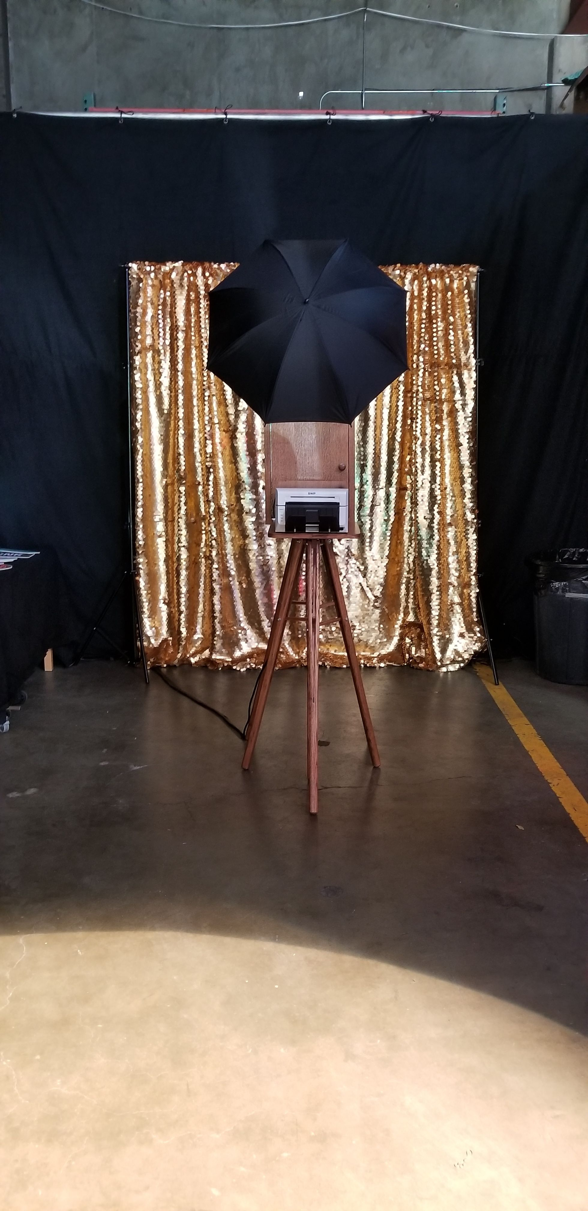 Simple midcentury modern gold sequin backdrop perfect photo