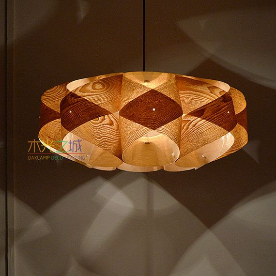 Wood orbit pendant lamp handmade wood pendant lampchinese ash wood veneer dining
