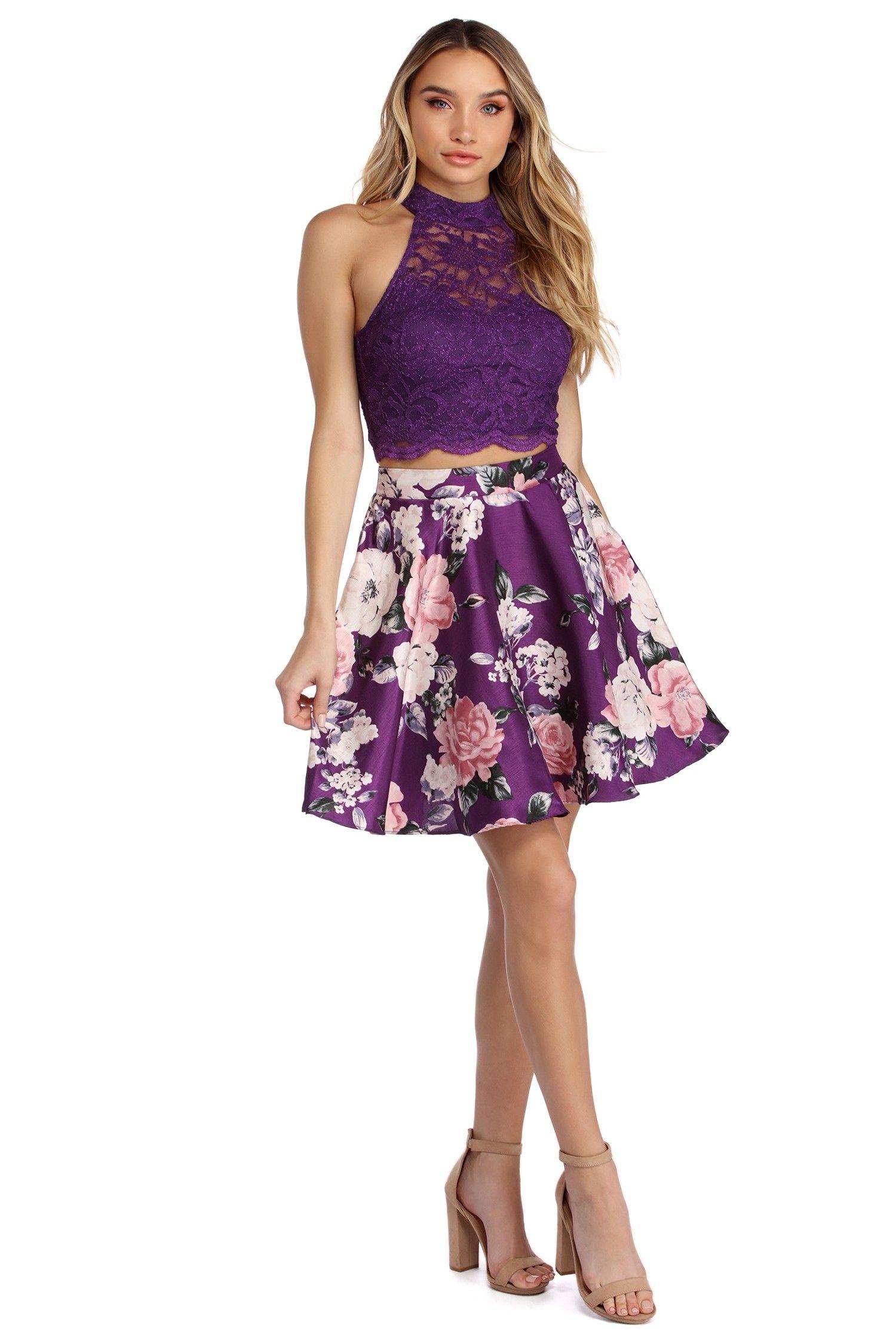 Zoey Purple Metallic Lace Two Piece Dress Two Piece Dress Purple Dresses Formal Piece Dress [ 2247 x 1500 Pixel ]