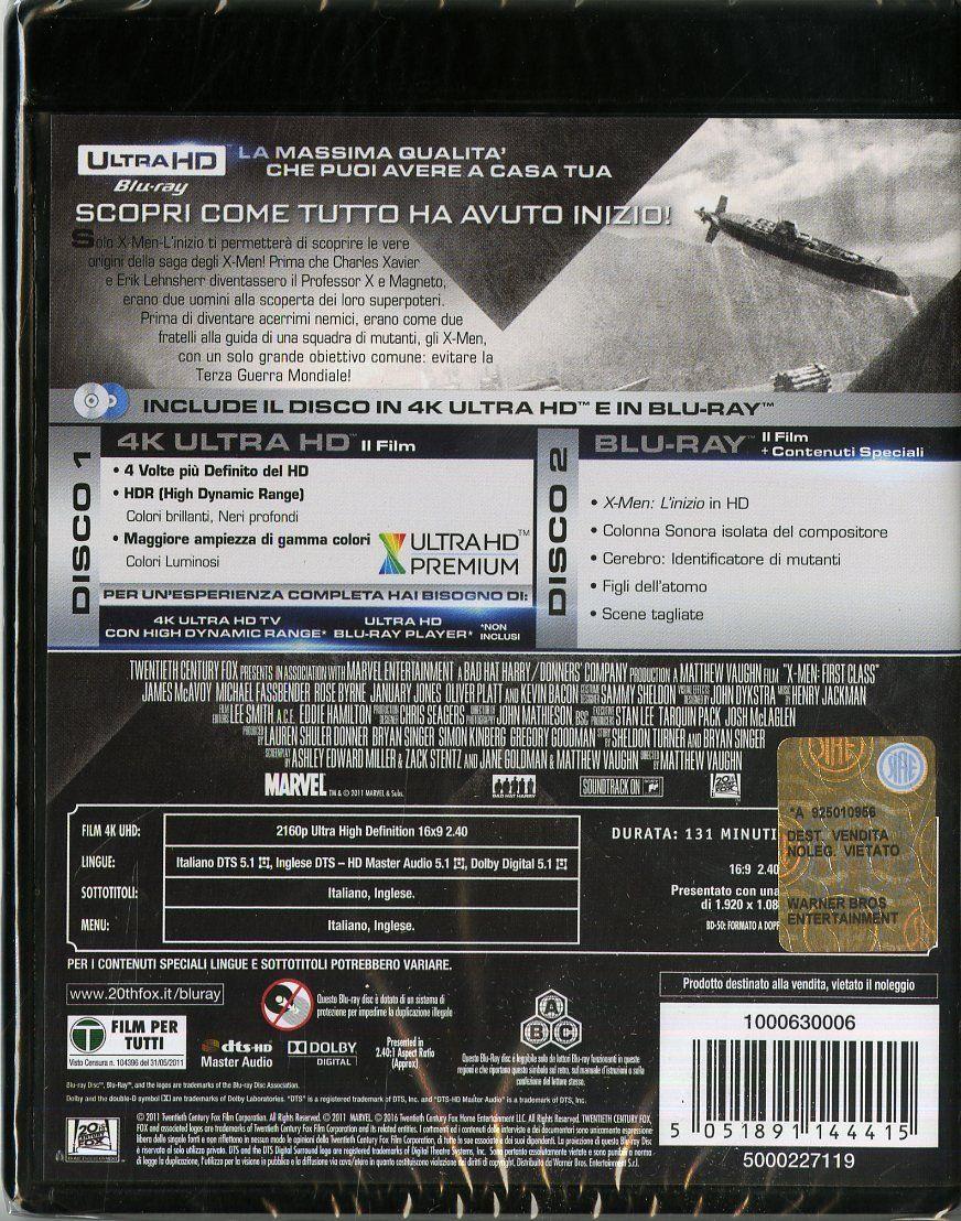 X Men L Inizio 4k Ultra Hd 2 Blu Ray Ultra Inizio Men Ray