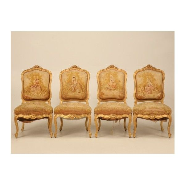 Set of 4 Orig. Antique French Gilt Aubusson Fabric Upholstered Chairs... ($6,980) via Polyvore