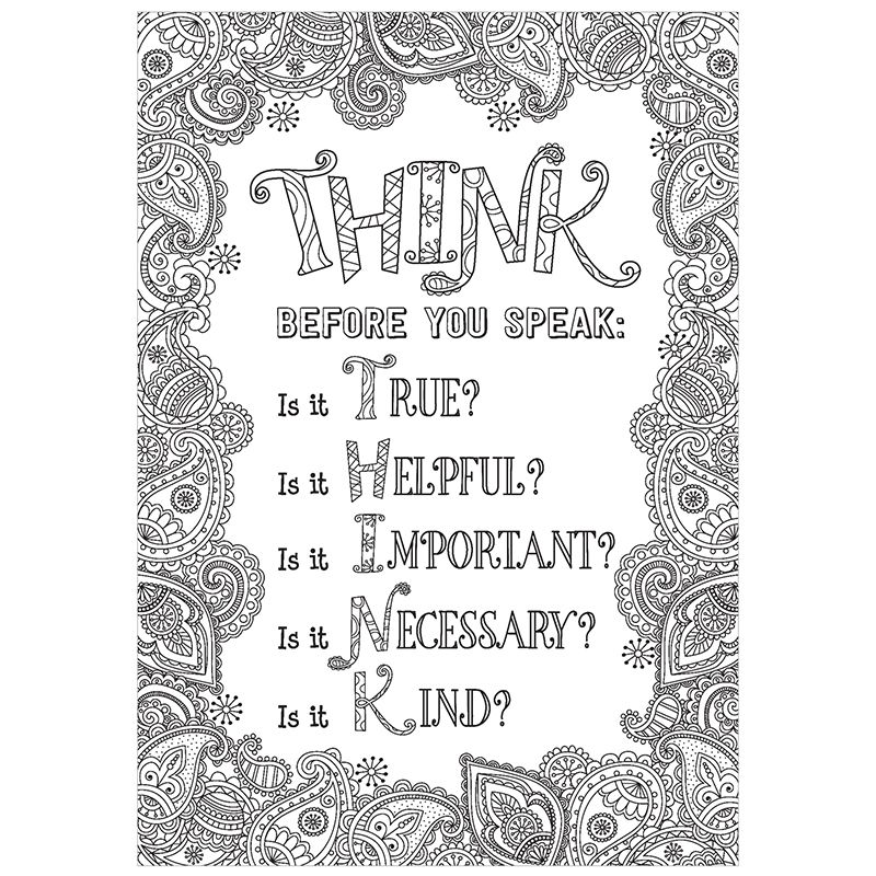 Think Before You Speak Inspire U Ctp3198 Quote Coloring Pages