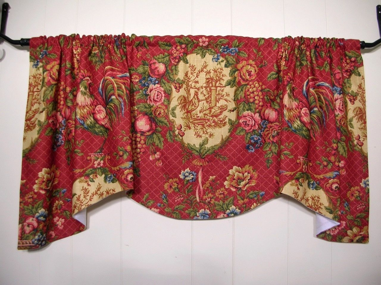 French country curtains waverly - Waverly Saison De Printempts Red Rooster Toile Valance Comforting Cottage Ebay