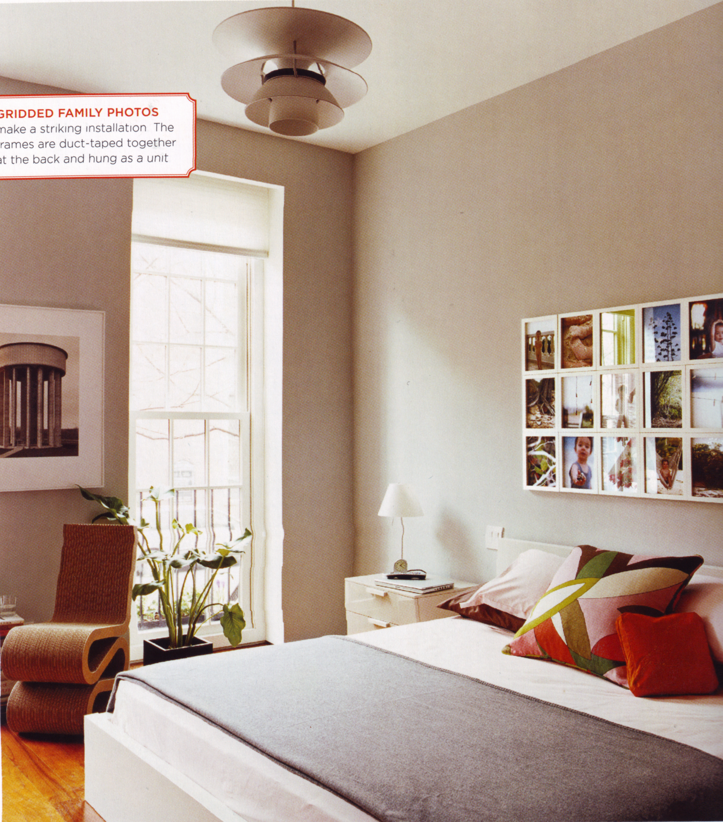 .I like the clean lines of the bedroom.  The photo idea is genious!