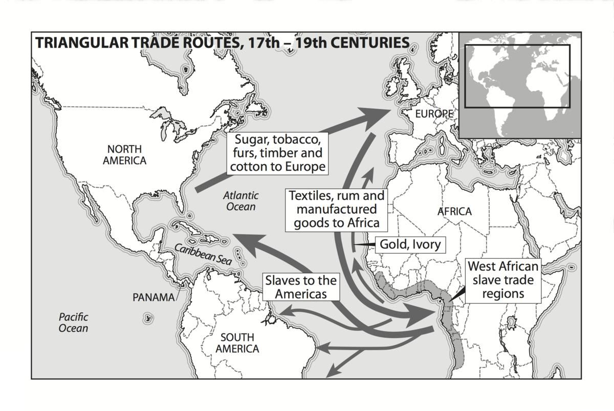 Triangle Slave Trade Map 14th Century