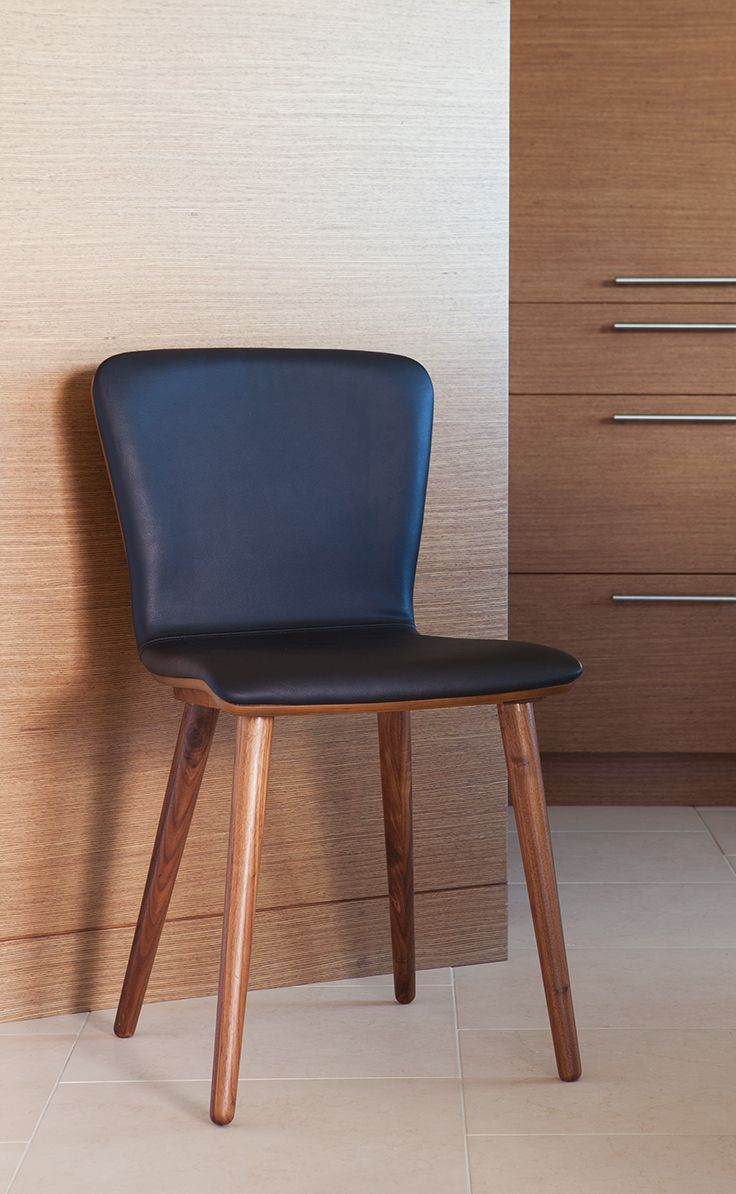 black leather dining room chairs | Sede Black Leather Walnut Dining Chair | Dining chairs ...