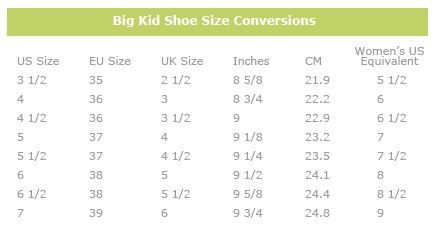 1f150dcf088e Women s to Big Kid s shoes size conversion chart. Save money by buying Big  Kids shoes!