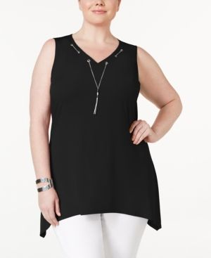 Ny Collection Plus Size Tassel Necklace Tunic -