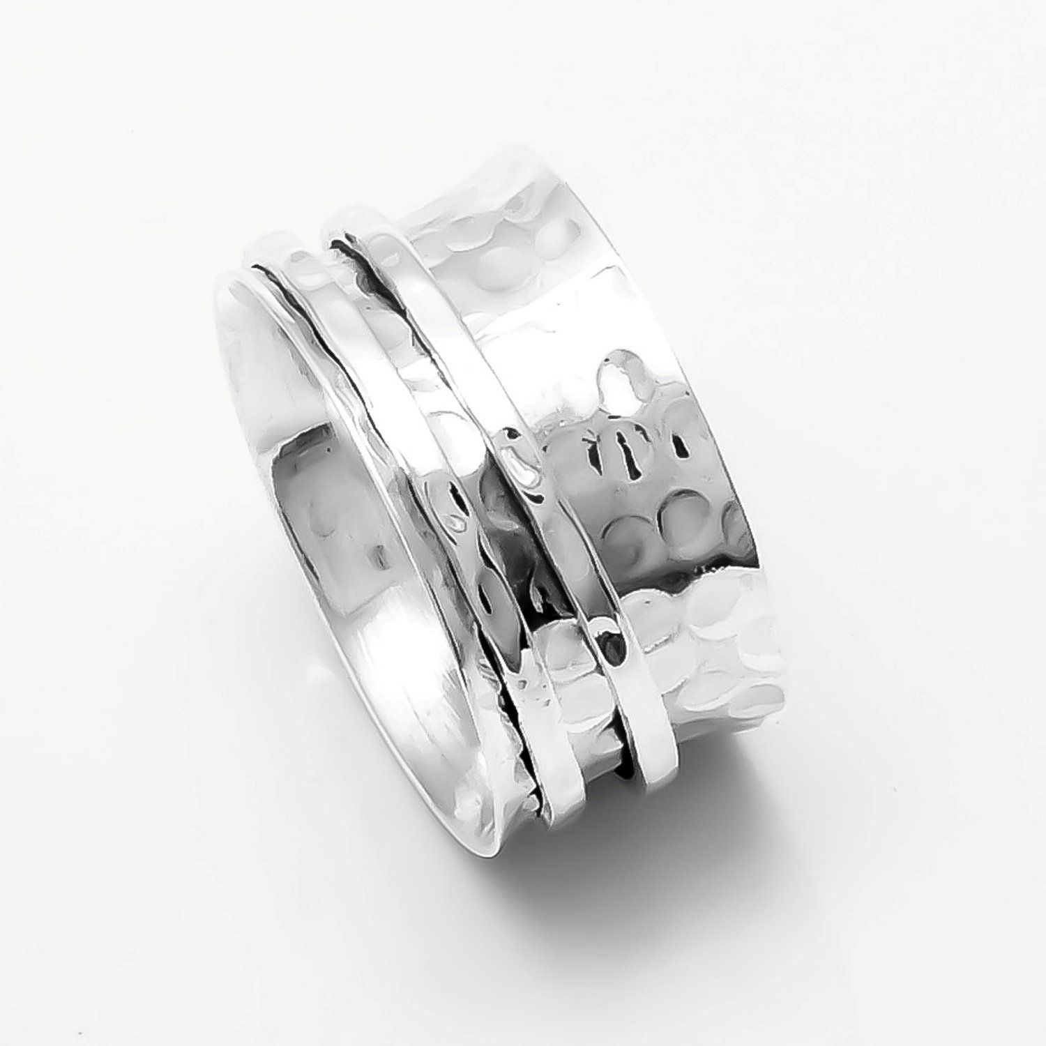 Handmade Spinner Ring Solid 925 Sterling Silver Meditation Statement Jewelry