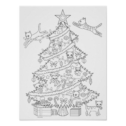 Cats In Christmas Tree Coloring Poster Zazzle Com In 2021 Christmas Tree Coloring Page Christmas Coloring Books Tree Coloring Page