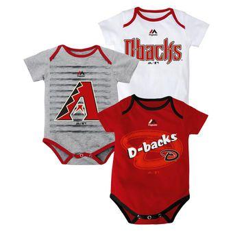 3ce7a9b671a5 Newborn Arizona Diamondbacks Majestic Red Gray White Triple Play 3 ...