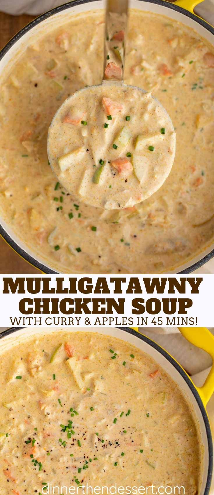Easy Mulligatawny Soup is a savory Indian curry soup made with apples, carrots, rice, and chicken in a seasoned creamy broth, ready in 60 minutes! #curry #dinner #soup #apples #rice #indian #indianrecipes #stew #chowder #chicken #dinnerthendessert #mulligatawnysoup