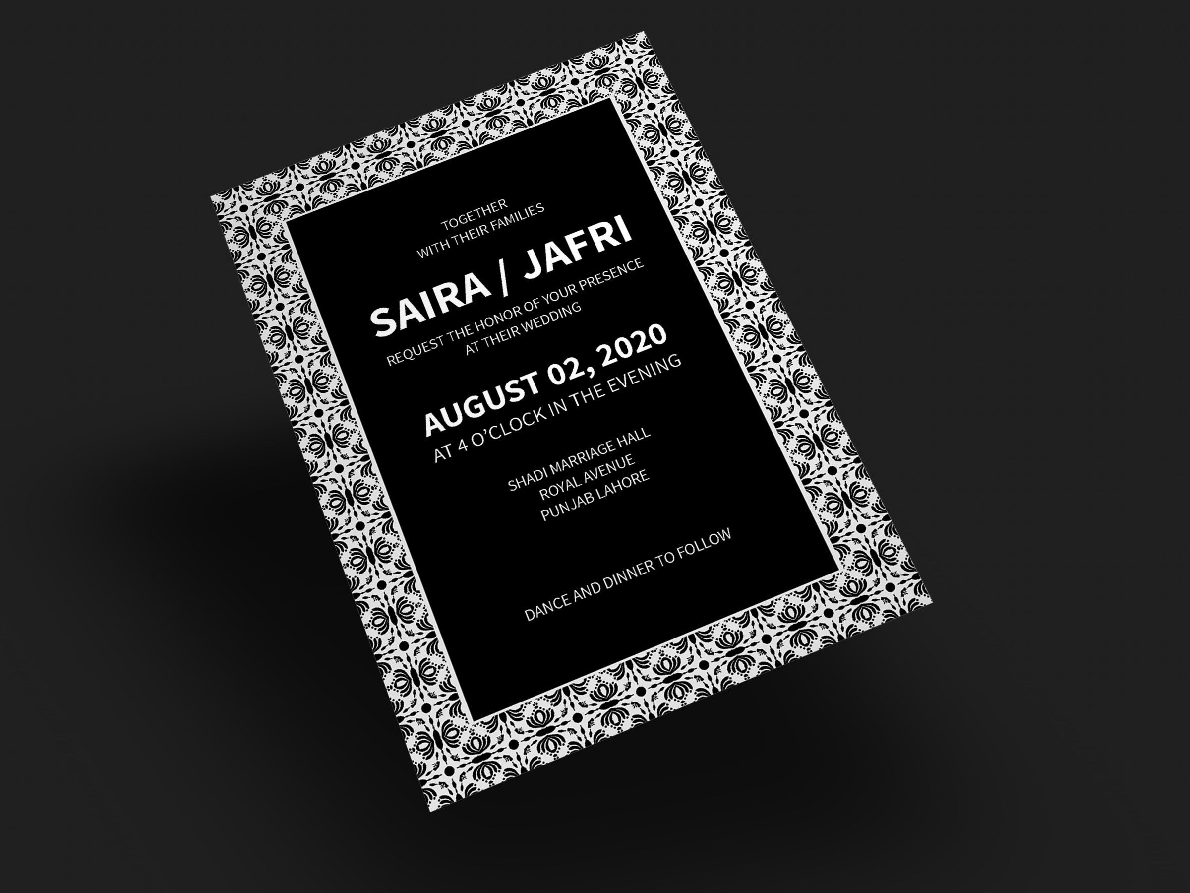 Classical wedding invitation card