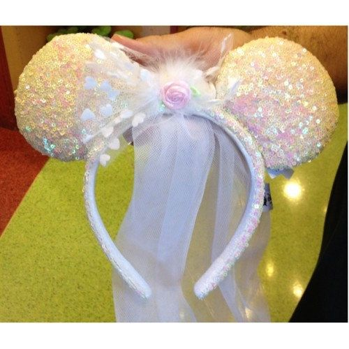 Disney Minnie Mouse Bride Headband Ears with Veil by NatesParty ... f2dfd08b06e