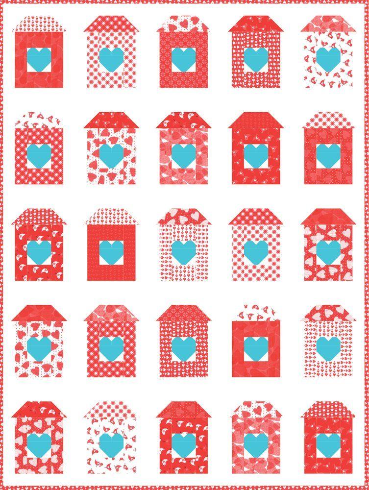 Love Shack PDF pattern Heart quilt, Quilting tutorials