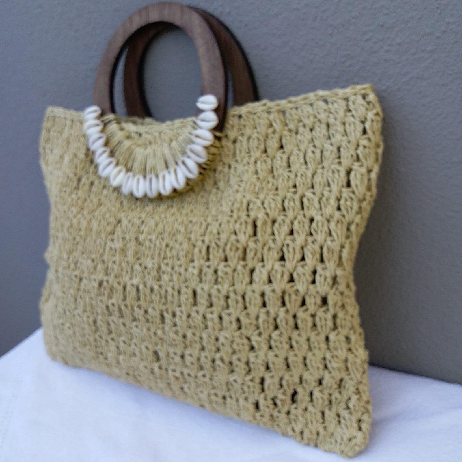 Crochet Shoulder Bag Everyday Large Purse Crochet Bag Handmade With Paperyarn Handmadebag With Wooden Handles
