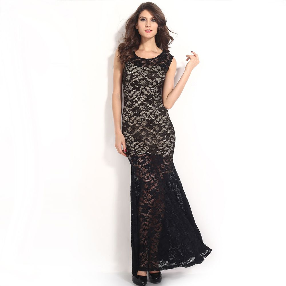 New fashion women dress lace lined mermaid sleeveless long slim sexy