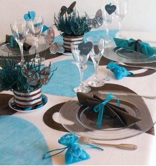 Déco de Mariage Bleu Turquoise Marron Chocolat | Mariage | Deco ...