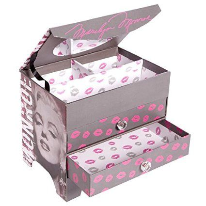 Amazon.com: Marilyn Monroe Jewelry Box   Grey, Pink And White With Kisses