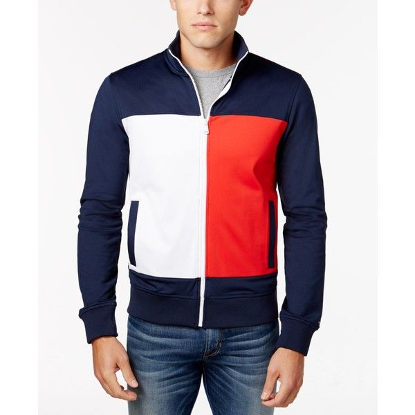 107418e6b0 Tommy Hilfiger Men's Markham Track Jacket ($110) ❤ liked on Polyvore  featuring men's fashion