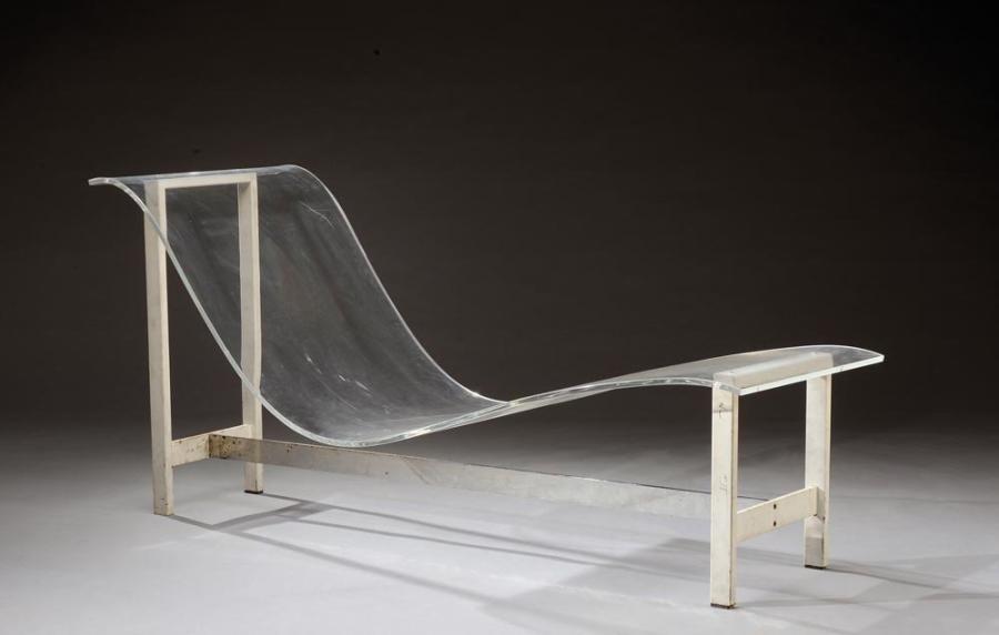 Francais En Longue Chaise 1970 Assise Travail Galbée Plexiglass À qUVzpGSM