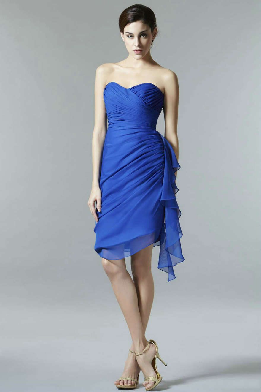 Blue dress one shoulder royal blue color dress pinterest blue