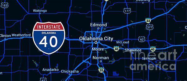 I 40 Oklahoma Map.Drawspots On Interstate 40 And Oklahoma City