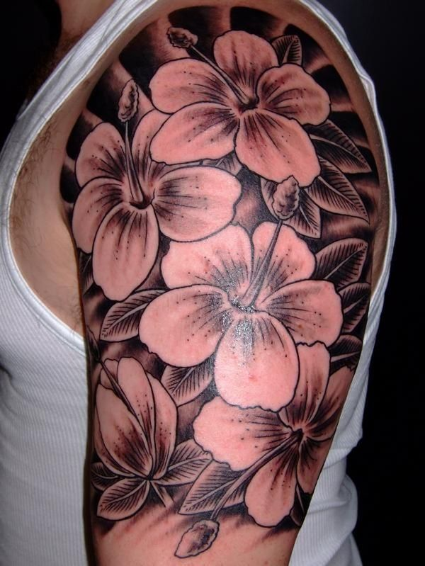 Awesome Black Ink Flowers Tattoo For Men On Upper Arm Tattoo