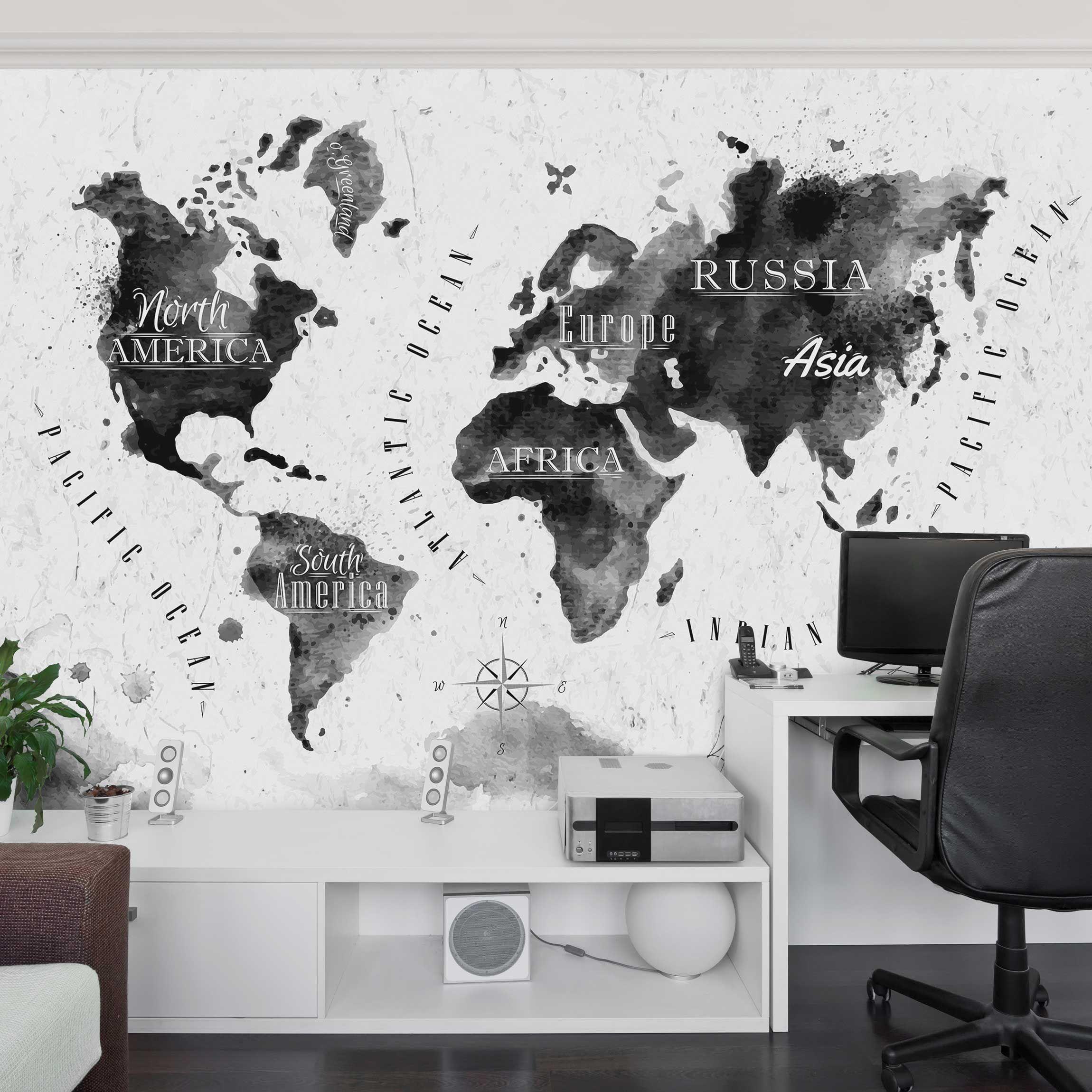 Cartina Del Mondo Da Parete.Carta Da Parati Mappamondo Mappa In Acquerello Con Scritte