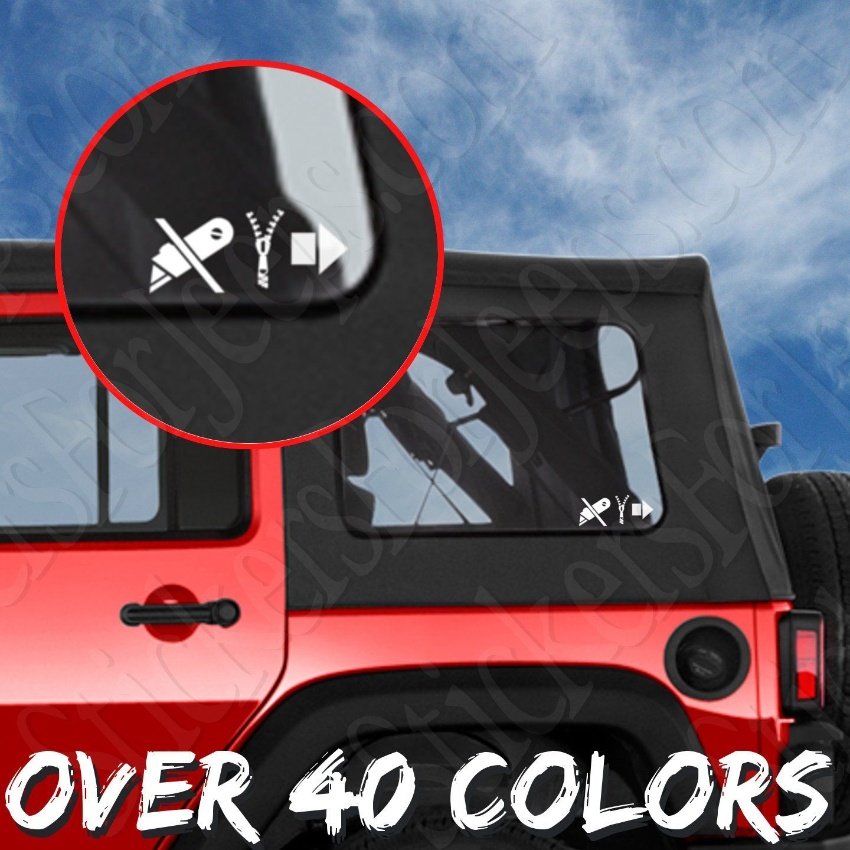 Jeep Wrangler Jl Jk Jku Tj Yj Cj Soft Top Window Sticker Funny Decal Pair Wrangler Jl Funny Stickers Jeep Wrangler