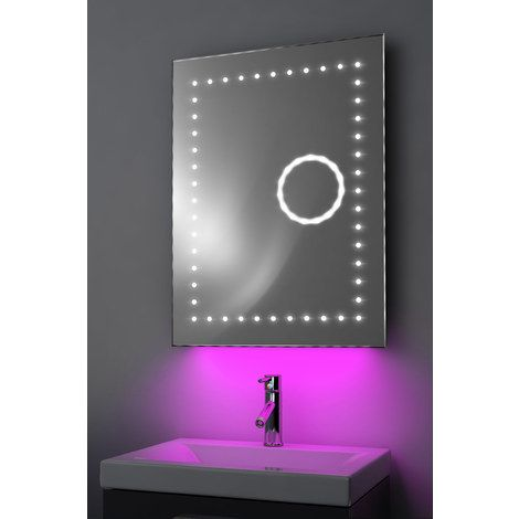 miroir toilette r trolumineux bluetooth anti bu e capteur k101paud couleur led rose. Black Bedroom Furniture Sets. Home Design Ideas