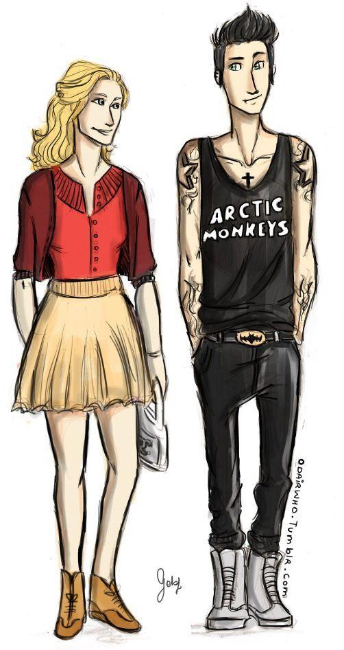 Annabeth like a nerd and Percy like a punk