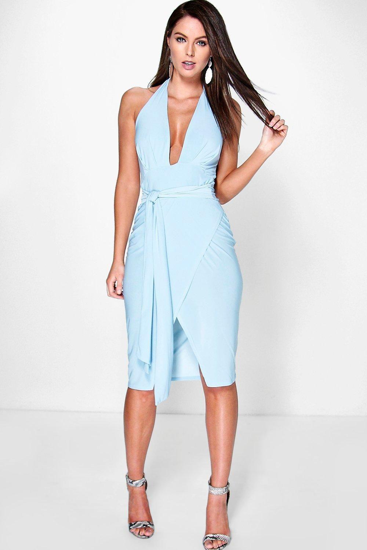 Shahad Slinky Plunge Halter Wrap Skirt Dress