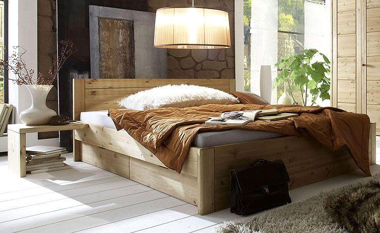 Bett Mit Stauraum   Funktionsbett 180 X 200 Cm  Kiefer Möbel Massiv    Gelaugt Und