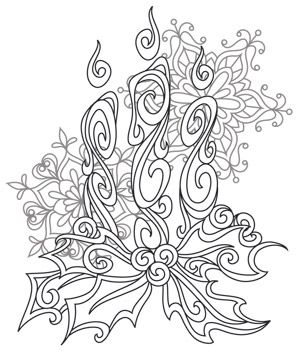 Baroque Noel - Candles design (UTH7134) from UrbanThreads.com