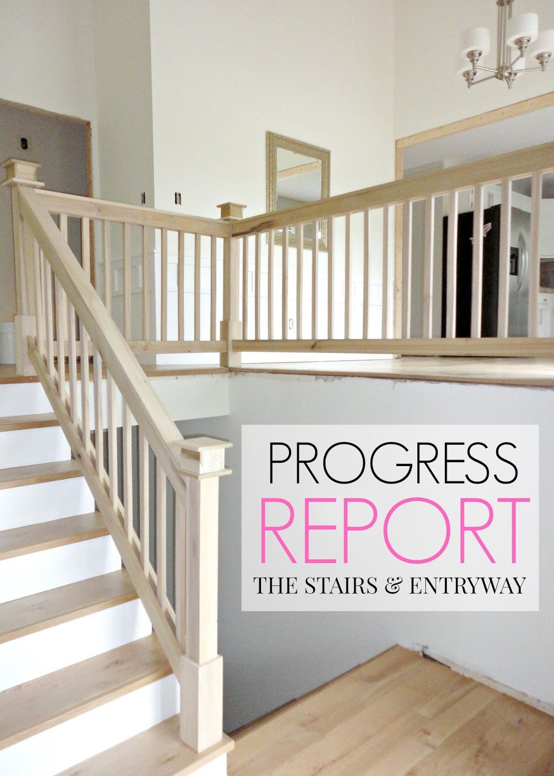 Our 1970s House Makeover: Part 6. The Hardwood Stairs and Entryway Makeover (a mini-update before we paint the stair rail)!