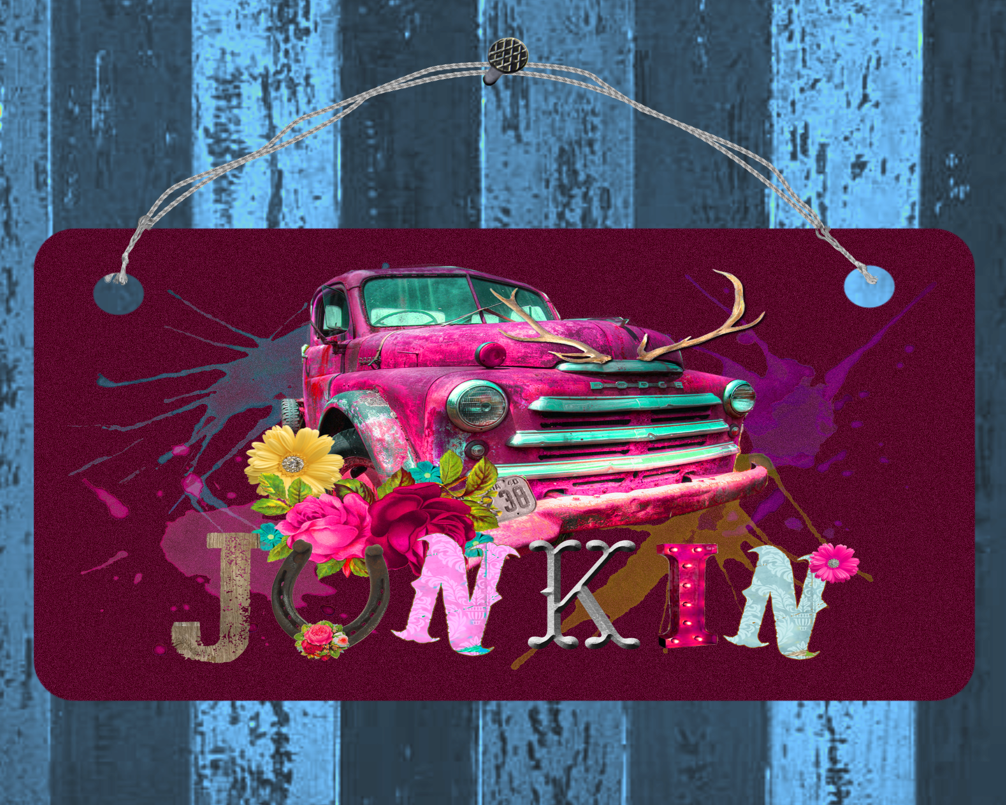 Junkin small hanging sign, wall or door decor  #art #design #gift #giftideas #giftguide #designtimegnc #handmade #gifts #birthday #gifting