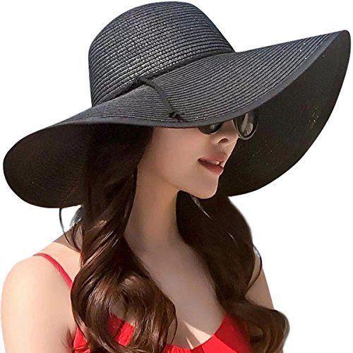 Lanzom Womens Wide Brim Straw Hat Floppy Foldable Roll up Cap Beach Sun UPF  50+ f67ae37b5bc1