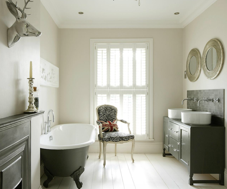 Eclectic bathroom design with vintage cast iron clawfoot - Clawfoot tub bathroom design ideas ...