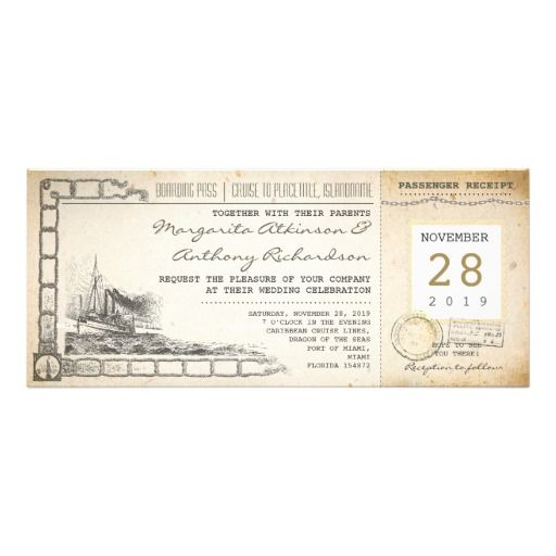 boarding pass nautical vintage wedding invitations boarding pass - boarding pass template