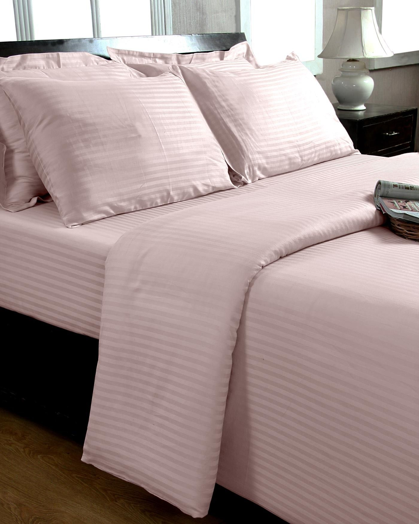 Pink Egyptian Cotton Satin Stripe Flat Sheet 330 TC, Super
