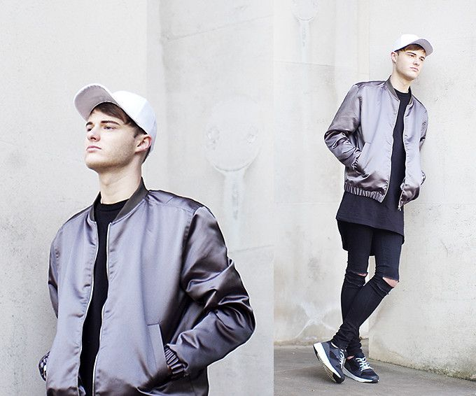 James T - Ebay Baseball Cap, H&M Bomber, New Look Longline Black, Primark Diy Ripped Jeans, New Look Monochrome Trainers -…