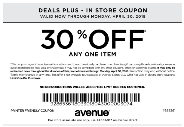 photo relating to Avenue Coupon Printable called Road Coupon: 30% Off A single Products Printable Discount coupons Retailer