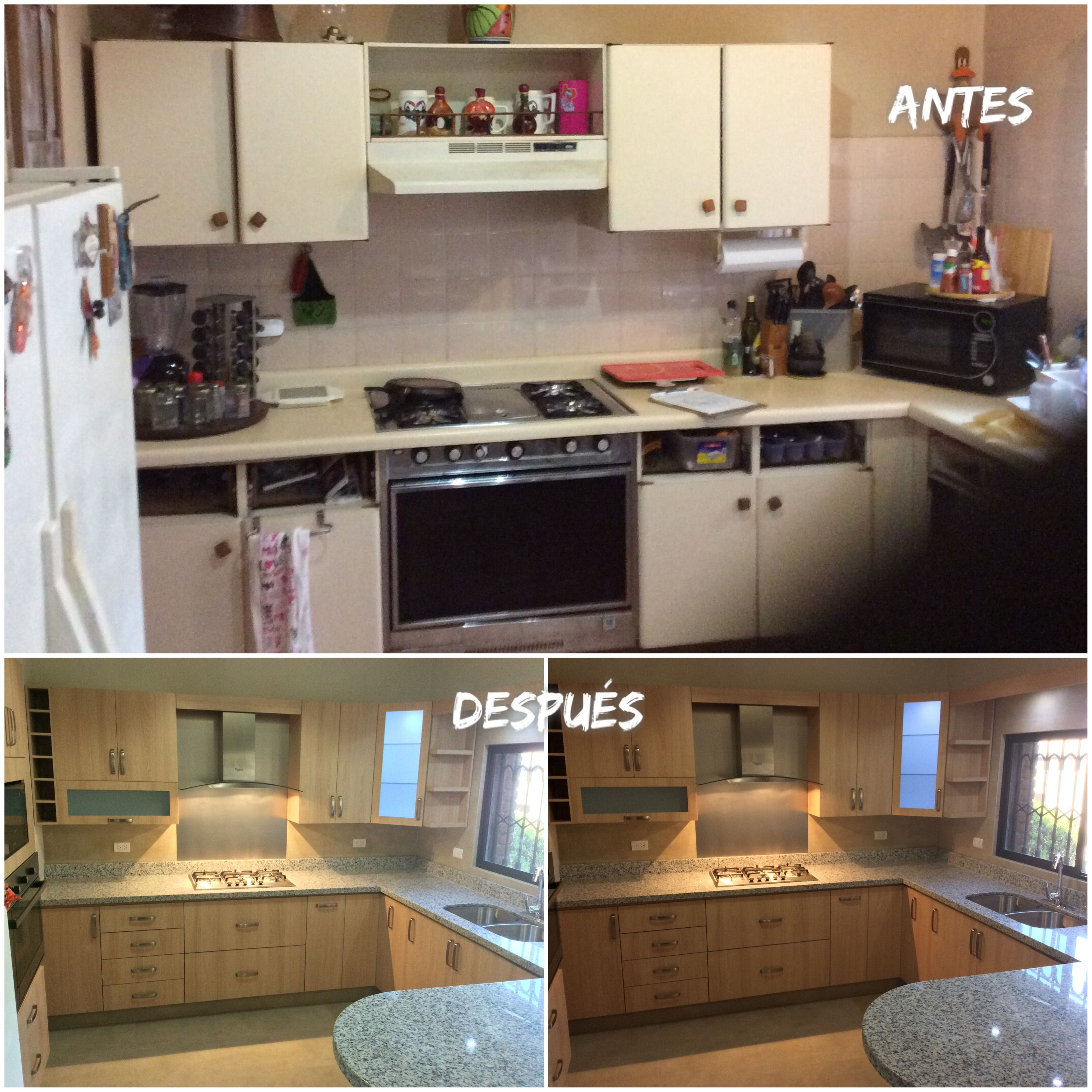 Antes Y Despues Before And After Kitchen Kitchen Cabinets Decor