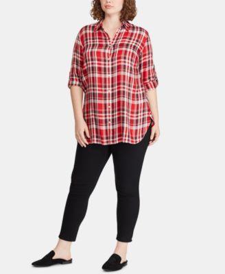 3571dcd0 Lauren Ralph Lauren Plus Size Button-Down Shirt - Red Multi 1X in ...