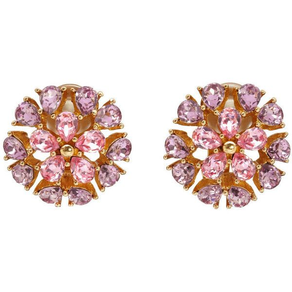 Pre-owned Vintage Christian Dior Pink Floral Earrings ($298) ❤ liked on Polyvore