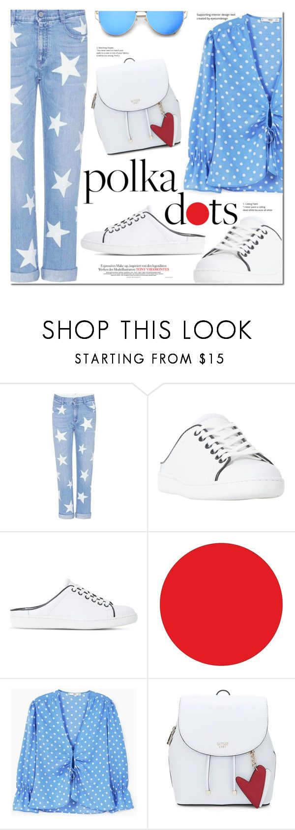 """""""So Dotty: Polka Dots"""" by monica-dick ❤ liked on Polyvore featuring STELLA McCARTNEY, Dune Black, Wall Pops!, MANGO, PolkaDots and polyvoreeditorial"""